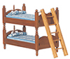 Dollhouse Miniature Bunkbeds with Ladder, Blue, Walnut