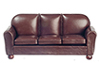 Dollhouse Miniature Sofa, Brown Leather