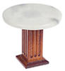 Dollhouse Miniature Round Marble Top Table, Walnut
