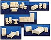 Dollhouse Miniature Toy Furniture, 5 Room Set