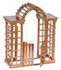 Dollhouse Miniature Arbor with Gate, Pecan