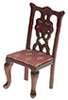 Dollhouse Miniature Side Chair, Mahogany, Rose