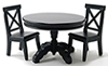 Dollhouse Miniature Black Pedestal Table with 2 Chairs
