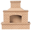 Dollhouse Miniature Wood Brick Outdoor Fireplace