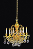 Dollhouse Miniature Brass 6-Arm Crystal Chandelier