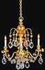 Dollhouse Miniature Brass 3-Arm Crystal Chandelier