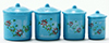 Dollhouse Miniature Blue Canister Set with Decals, 4pc