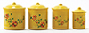 Dollhouse Miniature Yellow Canister Set with Decals, 4pc