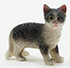 Dollhouse Miniature Black And White Cat Standing