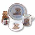 Dollhouse Miniature Reutter's Porcelain Fine Dollhouse Miniature Teddy ABCW Breakfast Set