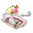 Dollhouse Miniature Reutter's Porcelain Fine Dollhouse Miniature Ice Cream Sundae On Tray
