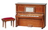 Dollhouse Miniature Piano with Bench, Non-Musical, Walnut