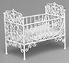 Dollhouse Miniature Baby Crib, White Wire
