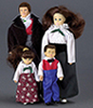 Dollhouse Miniature Victorian Doll Family, 4Pc, Brown Hair