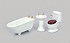 Dollhouse Miniature Bath Set, 3Pc, White