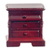 Dollhouse Miniature3-Drawer Nightstand, Mahogany
