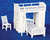 Dollhouse Miniature Bunkbed Set with Desk and chair, white