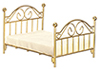 Dollhouse Miniature Brass Double Bed with Mattress