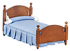 Dollhouse Miniature Single Bed, Walnut