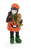 Dollhouse Miniature Pumpkin Girl in Pumpkin Dress