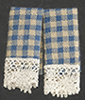 Dollhouse Miniature Dish Towels: Country Blue, 2 pc
