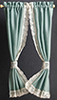 Dollhouse Miniature Tie-Back Curtains, Garden Green