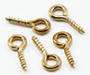 Dollhouse Miniature Brass Screw Eyes, 12 Pak