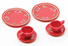 Dollhouse Miniature Dinnerware Set-Red