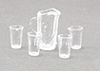 Dollhouse Miniature Crystal Pitcher W/4 Tumblers