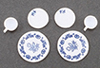 Dollhouse Miniature Decorated Dishes, Blue, 6/Pc