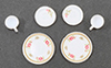 Dollhouse Miniature Decorated Dishes, Pink, 6/Pc