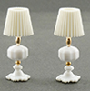 Dollhouse Miniature White Table Lamps, 2 pc
