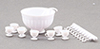 Dollhouse Miniature 8 Piece Punch Bowl Set, White