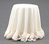 Dollhouse Miniature Skirted Table, Ivory