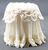 Dollhouse Miniature Lace Top Skirted Table, Ivory