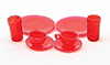 Dollhouse Miniature Dishes, Red, 8 Pc