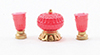 Dollhouse Miniature Candy Dish W/Vases, 3Pc Set
