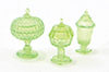Dollhouse Miniature Candy Dishes, 3Pc Green