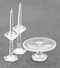 Dollhouse Miniature Cake Plate W/2 Candlesticks, Clear