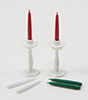 Dollhouse Miniature White Candlesticks (2) With Candles