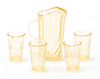 Dollhouse Miniature Pitcher W/4 Glasses, Amber