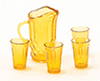 Dollhouse Miniature Pitcher W/4 Glasses, Dark Amber