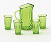Dollhouse Miniature Pitcher W/4 Glasses, Emerald Green