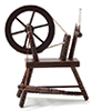 Dollhouse Miniature Spinning Wheel, Walnut