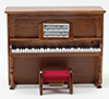 Dollhouse Miniature Upright Piano with Bench