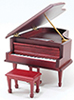 Dollhouse Miniature Musical Grand Piano with Bench