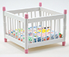 Dollhouse Miniature Playpen, White and Pink