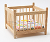 Dollhouse Miniature Playpen, Oak