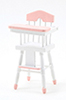 Dollhouse Miniature High Chair, pink and white