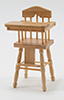 Dollhouse Miniature High Chair, Oak
